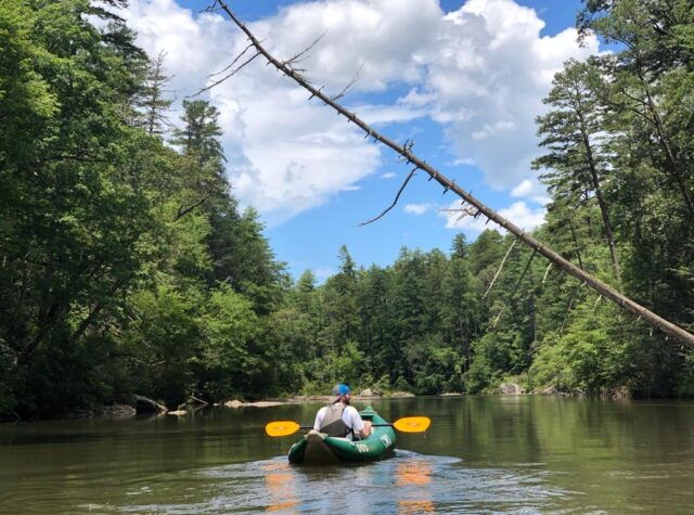 man enjoys the float on the Chattooga River in Long Creek South Carolina